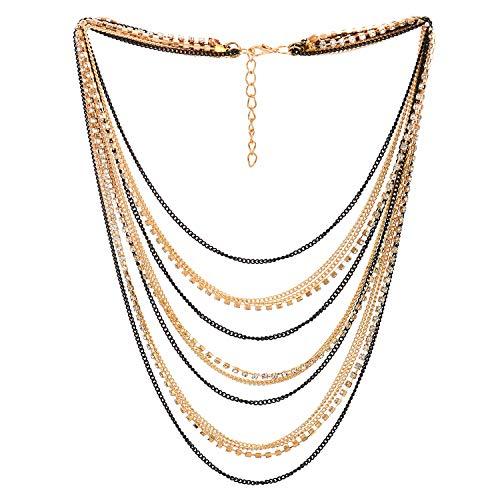 COOLSTEELANDBEYOND Statement Kragen Halsband Halskette Wasserfall Multi-Schichten Schwarz Gold Kette mit Strass Abendkleid Abschlussball