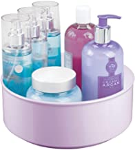 mDesign Plastic Spinning Lazy Susan Round Turntable Storage Tray - Rotating Organizer for Under Bathroom Cabinets; for Vitamins, Shaving Kits, Hair Spray, Lotions, First Aid - Light Purple