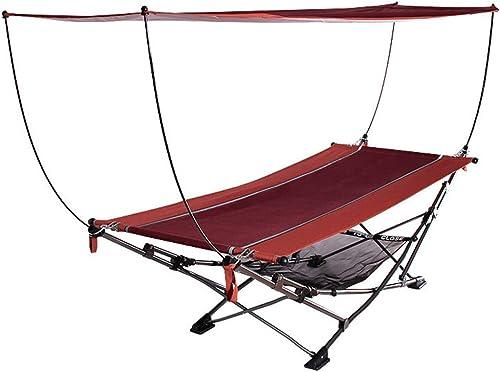 LOO LA Pliant lit de Camp-avec Parasol Pliable Seule Personne lit dans Un Sac W Oreiller pour intérieur, Utilisation extérieure