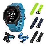 Garmin Forerunner 945 Bundle, Premium GPS Running/Triathlon Smartwatch with Music Included Wearable4U 3 Straps Bundle (Lime/Navy Blue/Black)