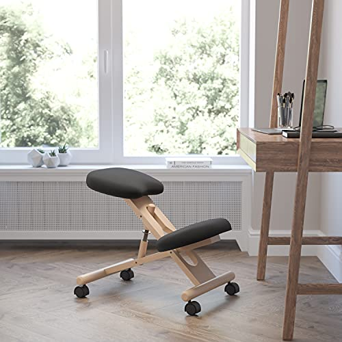 Flash Furniture Mobile Wooden Ergonomic Kneeling Office Chair