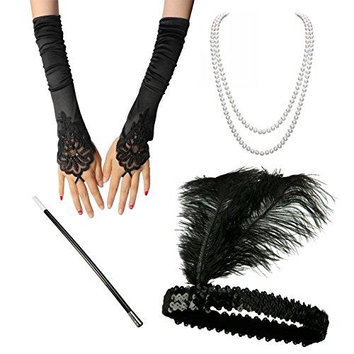 BigLion Disfraces de Roaring 20s Venda para el pelo Collar Canastilla de cigarro Guantes para Disfraz de Charlestón 1920 Gatsby Accesorios de vestuario Set (B)