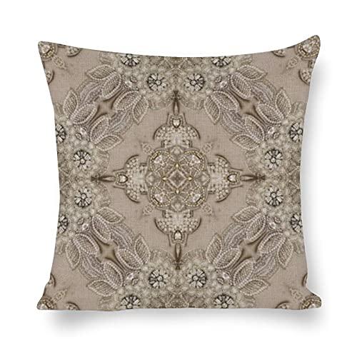 Glamour - Federa per cuscino in lino bianco con strass, motivo floreale, motivo floreale, per soggiorno, divano, letto, 45 x 45 cm