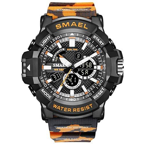 JTTM Reloj Militar para Hombre Deporte Relojes Analógico Y Digital LED Electrónico Grande Relojes Resistente Al Agua 50M,Naranja