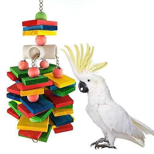 La masticaci¨®n de Juguetes de Aves, Miel Momo Madera p¨¢jaro del Animal Dom¨¦Stico del Loro Colgante de Bloques de construcci¨®n de la mordedura de la Cuerda Chew Toy Jaula Decoraci¨®n - Multicolor