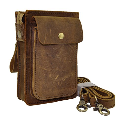 Le'aokuu Mens Genuine Leather Fanny Messenger Shoulder Satchel Waist Bag Pack (Brown)