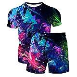 Pantalones Cortos de Playa de Verano con Gráficos con Estampado 3D para Hombre Bañadores de Surf y Camisetas Informales de Manga Corta con Cuello Redondo y Moda(Azul,S)
