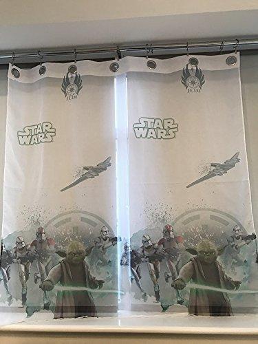 sophia the first Star Wars Voile Net Rings Curtain 75 cm Width x 150 cm Drop
