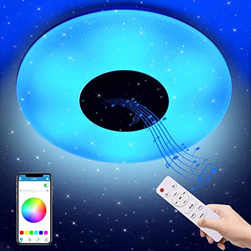 Tycolit Plafoniera LED Soffitto per Musica 36W con Altoparlante Bluetooth, Plafoniere musicale con cambio colore con telecomando e controllo APP, Ø40 cm Lampada Dimmerabili per soggiorno, camera