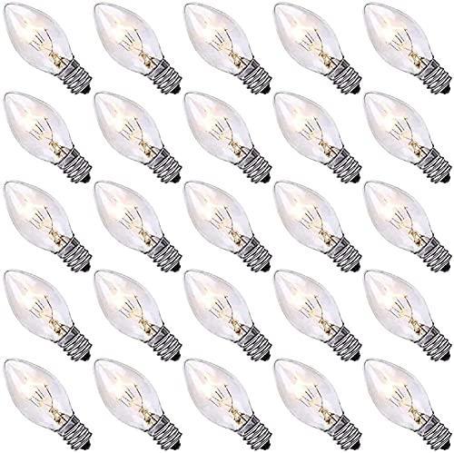 Dr.BeTree C7 Clear Bulbs Christmas Light Bulbs 25 Pack Outdoor String Light Replacement Bulbs, C7/E12 Candelabra Base, 5 Watt-Clear