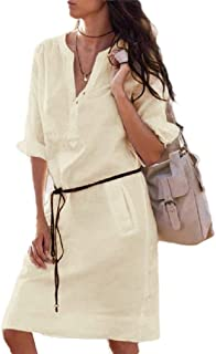 RkYAO Womens Long Sleeve Pocketed Tunic Button Solid Club Party Dress