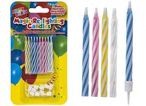 PMS MAGIC RE-LIGHTING CANDLES 10PC PACK WITH HOLDERS ON BL/C