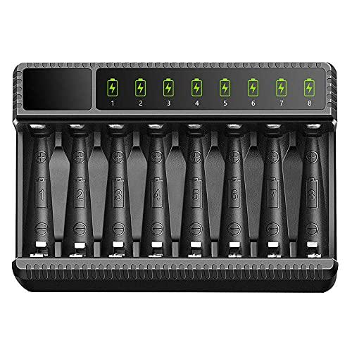 Pantalla Led De Cargador De Batería Inteligente De 8 Ranuras para Baterías Recargables AA / AAA Nimh