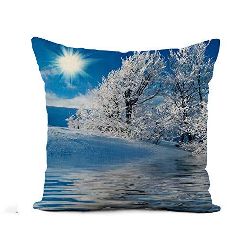 N\A Fodera per Cuscino di tiro Scena Blu Inverno in Montagna Frozen Lake Sunny Federa Decorazioni per la casa Fodera per Cuscino in Lino e Cotone Quadrato