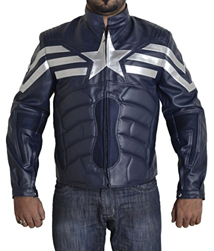 BURNING SKULL BSKULL Men's Captain America Winter Soldier V2 Faux Leather Jacket (2XL) Blue