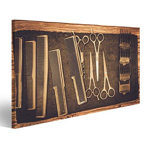 islandburner Cuadro Cuadros Accesorios de peluquería en barbería sobre Lienzo Formato Grande Listo para Colgar estupendo