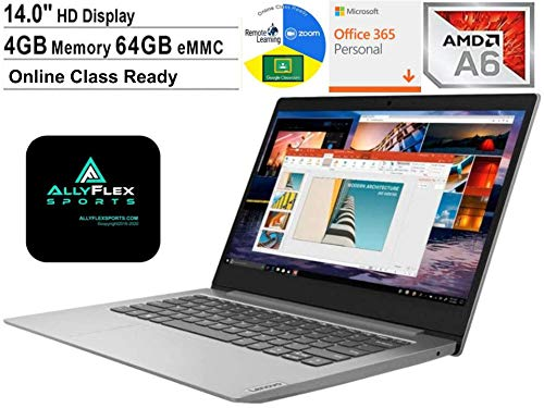 2020 Lenovo IdeaPad 14 Inch Laptop for Business Student Online Class/Remote Work AMD A6-9220e, 4GB RAM, 64GB eMMC, WiFi, Webcam, HDMI Windows 10 S (1 Year Office 365 Included) +AlleFlex Mouspad