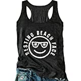 LANMERTREE Women's Graphic Tees Sleeveless Funny Workout Letters Print Tank Top T-Shirt (XL, Black)