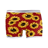SLHFPX Womens Underwear Boxer Briefs Chic Floral Sunflower Red Background Ladies Breathable Boxer Briefs Panty
