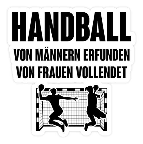 shirt-o-magic Aufkleber Handball: Von Frauen vollendet - Sticker - 10x10cm - Weiß