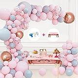 Kit de arco de guirnalda de globos Decoraciones para fiesta de cumpleaños en rosa y gris...