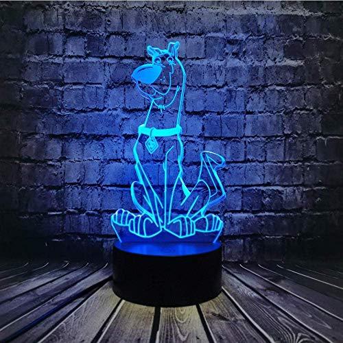 Lámpara de noche 3D, juguete de luz de perro luz de noche para habitación de chico, lámpara de mesa LED óptica, 7 cambios de color juguete de cumpleaños de vacaciones para niño