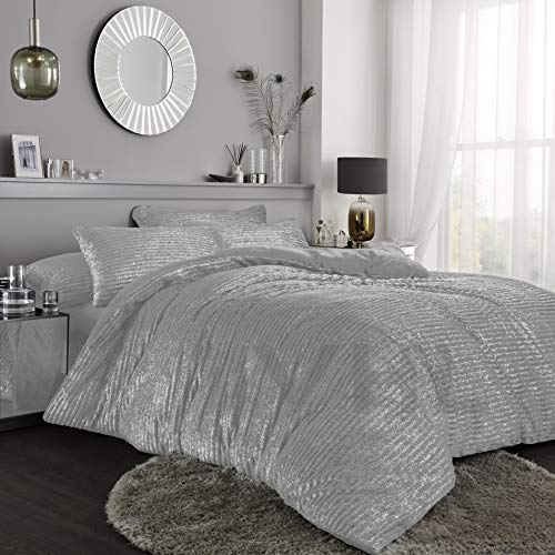 Gaveno Cavailia Teddy Shiny Stripe Fleece Duvet Set With Matching Pillowcase, Fluffy Thermal Quilt Cover, Super Soft & Cosy Linen, Charcoal, Single Size Bedding, 100% Polyester