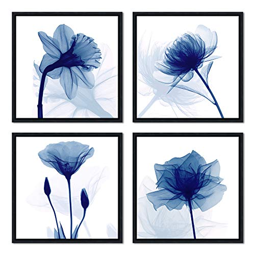 Pyradecor Black Framed Blue Flickering Flower Modern Abstract Paintings Canvas Wall Art Grace Floral Pictures on Canvas Prints 4 Panels Artwork for Bedroom Office Home Decorations