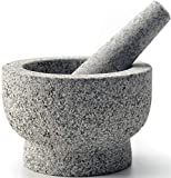 cookwise Mortar and Pestle set easy to clean made for lifetime, unpolished granite stone, large and...