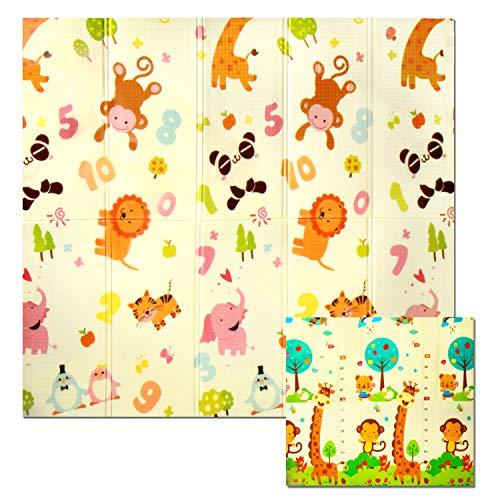 CCLIFE Krabbelmatte Spielmatte Baby Schadstofffrei 198x178x1cm Faltbar Spielunterlage Spielteppich Groß Rutschfest Beidseitig Tragbar Wasserdicht für Innen Außen Bunt