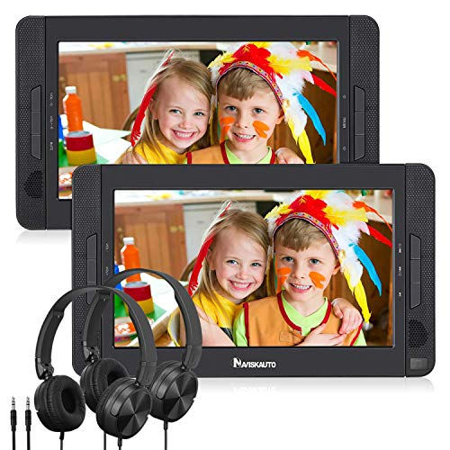 "NAVISKAUTO 10.5"" Dual Screen DVD Player Portable for Car with Headphones, 5-Hour Rechargeable Battery, Supports USB/SD/MMC (Host DVD Player+ Slave Monitor)"
