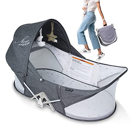 Beberoad Portable Baby Bed Travel Bassinet Foldable Infant Crib, Baby Cots for Newborn, Toddlers (Dark Grey)