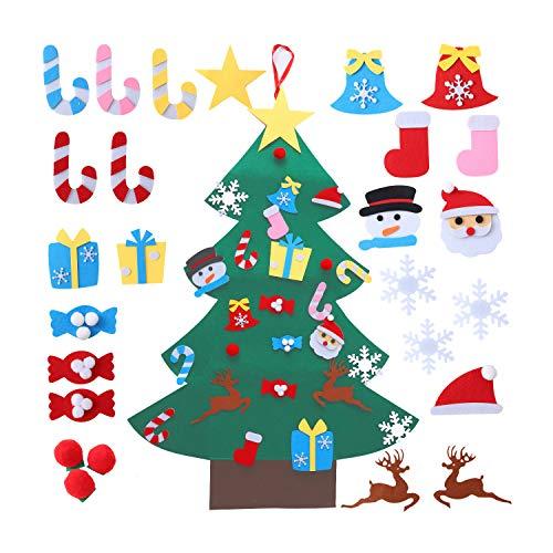 Ulikey Fieltro Árbol de Navidad, Árbol de Navidad, Adornos para Niños Puerta del Hogar Decoración de Pared, Decoración de Pared con Cuerda Colgante, Niños