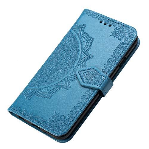 HAOYE Hülle für Xiaomi Redmi Note 8T Hülle, Mandala Geprägtem PU Leder Magnetische Filp Handyhülle mit Kartensteckplätzen/Standfunktion, [Anti-Rutsch Abriebfest] Schutzhülle. Blau