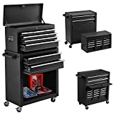 8-Drawer Tool Chest Big Removable Tool Chest Rolling Tool Box with 4 Wheels and Drawers Tool Cabinet Tool Organizer Toolbox with Locking System Used for Garage, Barber Shop, and Warehouse (Black)