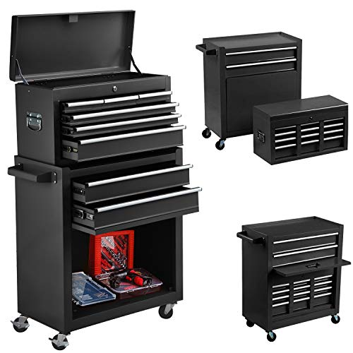 8-Drawer Tool Chest Big Removable Tool Chest Rolling Tool Box with 4 Wheels and Drawers Tool Cabinet Tool Organizer Toolbox...