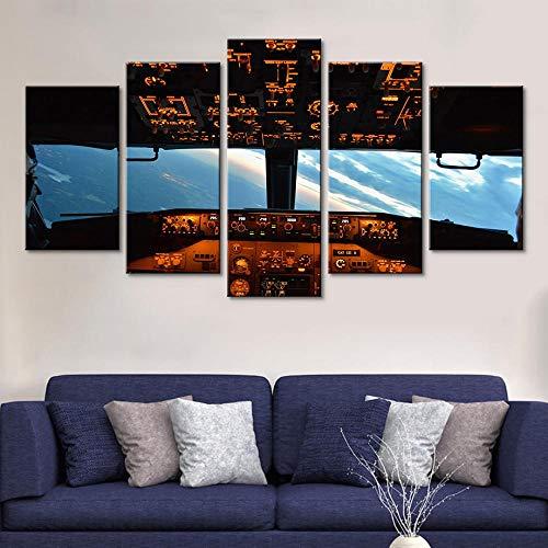 Murturall 5 stuks afdrukken op canvas, vliegtuig-cockpit canvas schilderij moderne muurkunst foto's wooncultuur poster 100x55cm