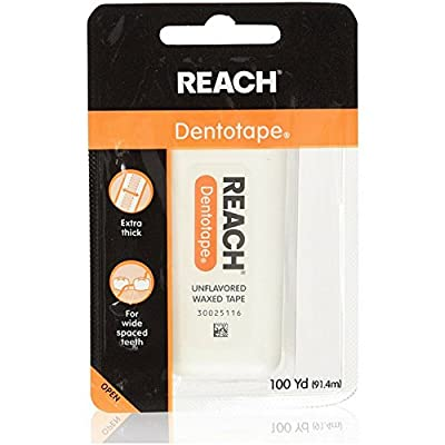 Reach Dentotape Waxed Dental Floss with Extra Wide Cleaning Surface for Large Spaces between Teeth, Unflavored, 100 Yards, 6 Count