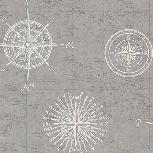 Beacon House 2604-21216 Navigate Vintage Compass Wallpaper, Grey
