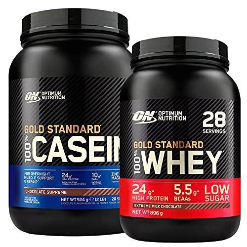 Optimum Nutrition Gold Standard 100% Whey Proteine in Polvere con Aminoacidi Cioccolato al Latte 896g 28 Porzioni + 100% Gold Standard Casein Proteine di Caseina a Lento Rilascio 924g 28 Porzioni