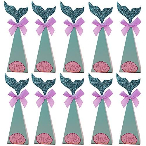 QQEE 30 Stück Meerjungfrau Geschenkboxen, Meerjungfrau Party Boxen, Meerjungfrau Geschenktüten, Meerjungfrau Boxen, Süßigkeiten Papierbox, für Kinder Gastgeschenke, Geburtstag Mitgebsel, Hochzeit