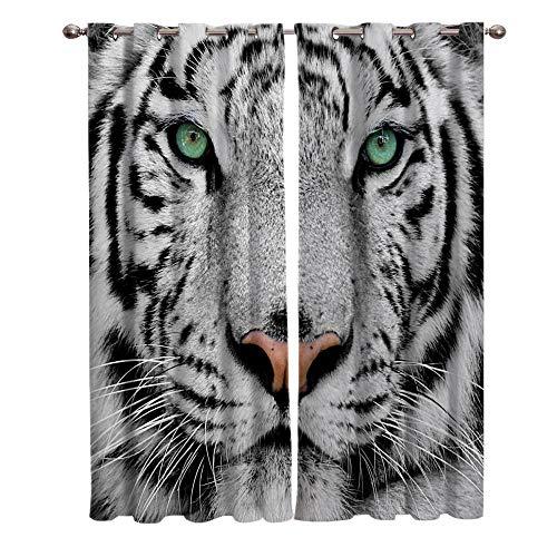 CGZLNL 2 Paneles Cortinas Opacas 3D Impresión Tigre Blanco Animal Cortinas Aislantes Termicas Opaca con Ojales, para Salón, Habitación y Dormitorio Cortinas 110x215 cm