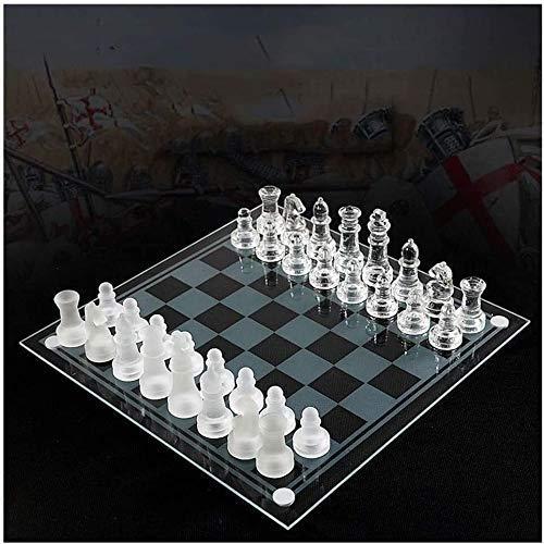 GLXLSBZ Juego de ajedrez, Juego de ajedrez de Viaje Juego de ajedrez de Vidrio K9 Embalaje Mediano Juego de ajedrez Internacional Internacional