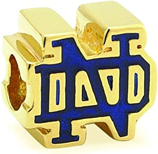 Gifts for Irish Graduates Notre Dame Blue and Gold Charm for Bracelet Gold Plated Sterling Silver Irish Made