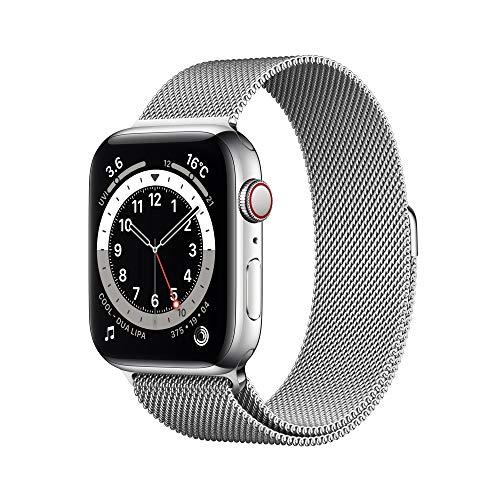 最新 Apple Watch Series 6(GPS Cellularモデル)- 44mmシルバーステンレススチールケースとシルバーミラネーゼループ