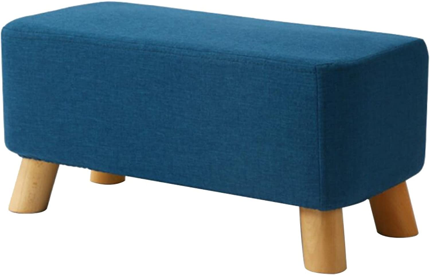 A-Fort Bench Living Room Solid Wood Stool Simple Creative wear shoes Bench Fabric Sofa Bench Rectangular pier-Green (color   bluee)