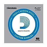 D'Addario PL017 - Cuerda individual de acero liso para guitarra, 0.4318 mm