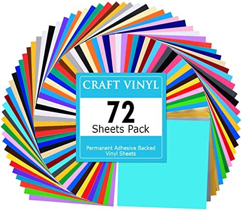 Lya Vinyl 72 Assorted Colors Permanent Adhesive Vinyl Sheets 12 x 12 inchs for Decor Sticker product image