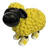 OF Gartenfiguren für außen - Schaf Schwarz Gelb mit Turnschuhen für Garten, Balkon oder Terrasse - Dekofigur
