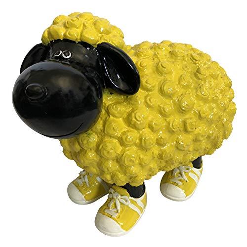 OF Gartenfiguren für außen - Schwarz gelbes Schaf mit Turnschuhen